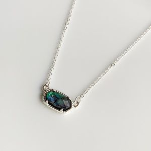 NEW Small Oval Necklace (silver + abalone)
